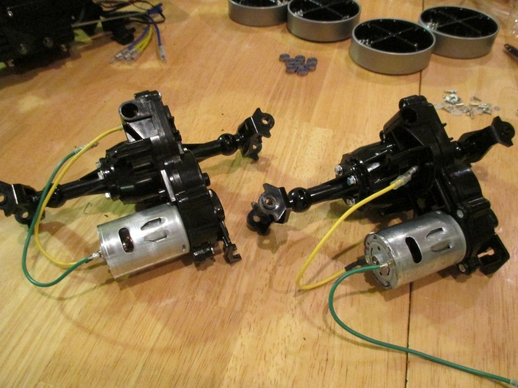 Motors attached to the gearboxes